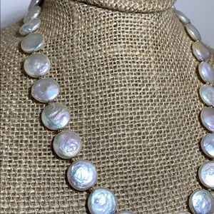 Coin pearl and gold bead necklace